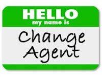 Green sticker with Hello my name is Change Agent written on it