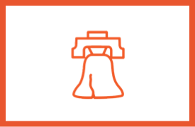 Orange outline of the Liberty Bell within an orange border