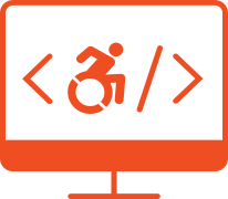 Desktop computer monitor with code brackets and an icon of a person using a wheelchair between the brackets
