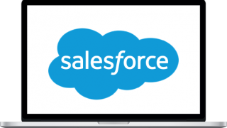 A laptop with the Salesforce logo on the screen