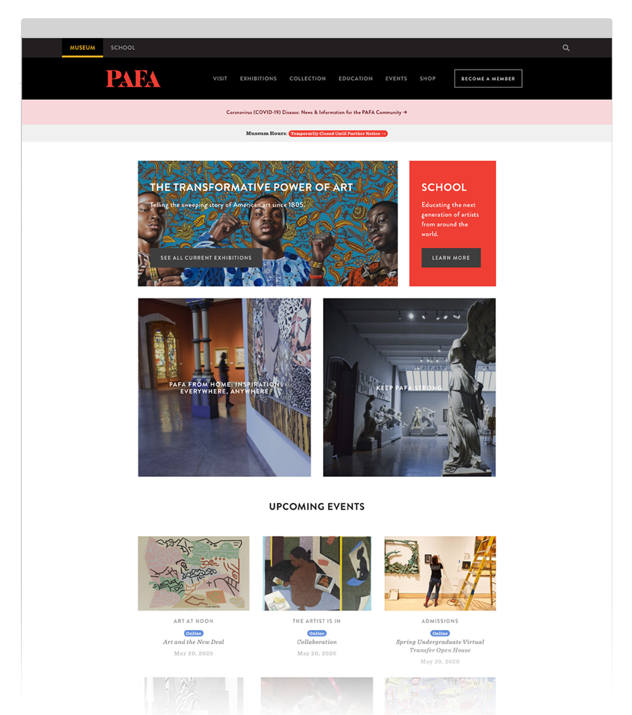 PAFA website homepage.