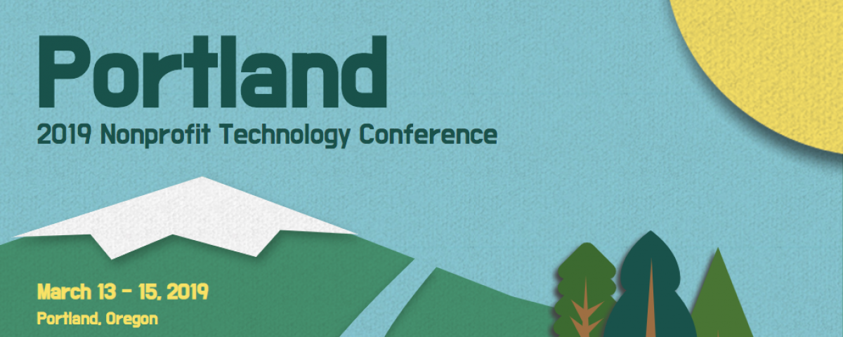 Nonprofit Technology Conference Banner with mountain, sky, sun, and pine trees