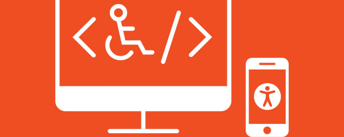 Accessibility icon depicting a person in a wheelchair on a computer screen.