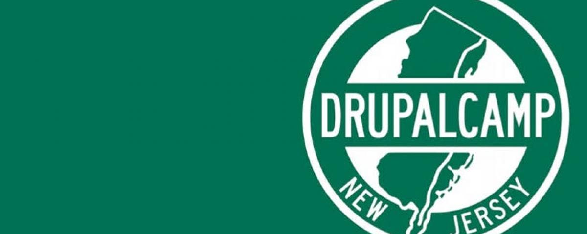 Drupalcamp NJ Logo on a green background