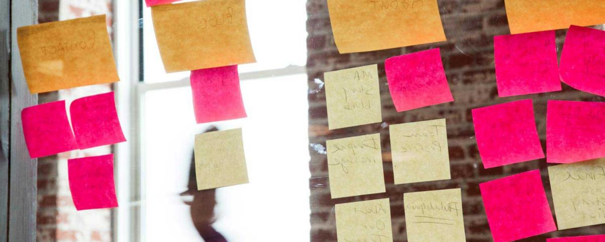 Glass wall with stickies notes