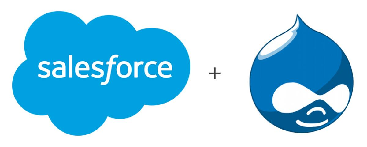 Salesforce logo and Drupal logo