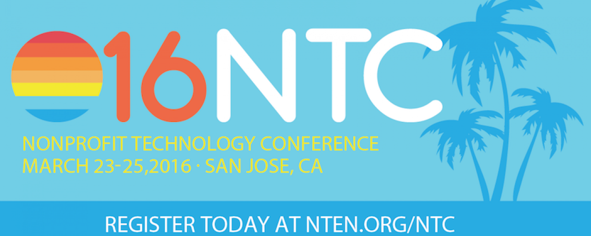 Nonprofit Technology Conference 2016 logo with palm trees