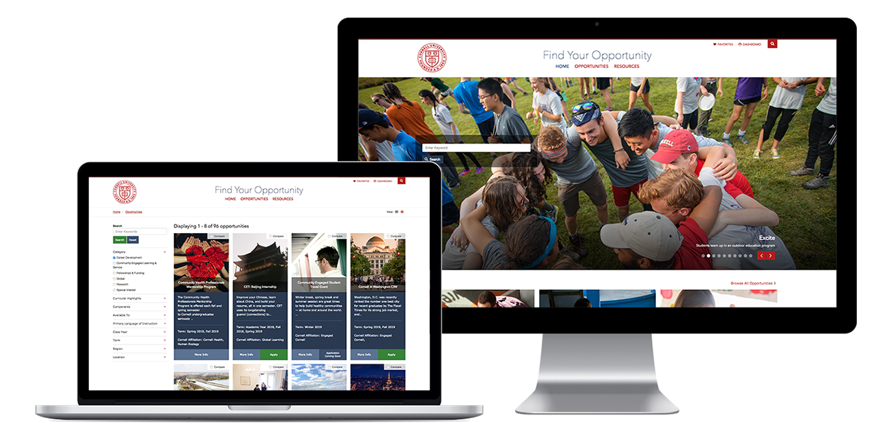 Cornell Student Experience website home page on desktop and laptop