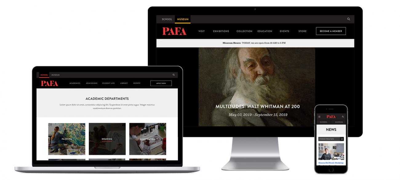 Three versions of the PAFA homepage, one on a laptop, one on desktop, and one on mobile.