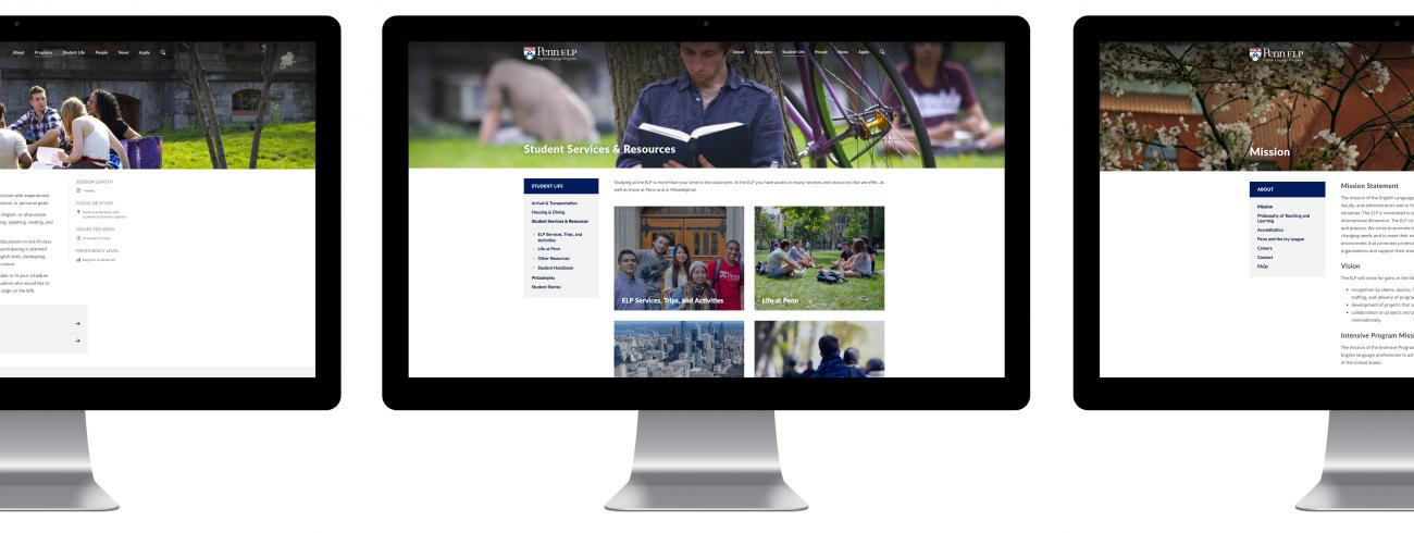 University of Pennsylvania's English Language Programs website on desktop