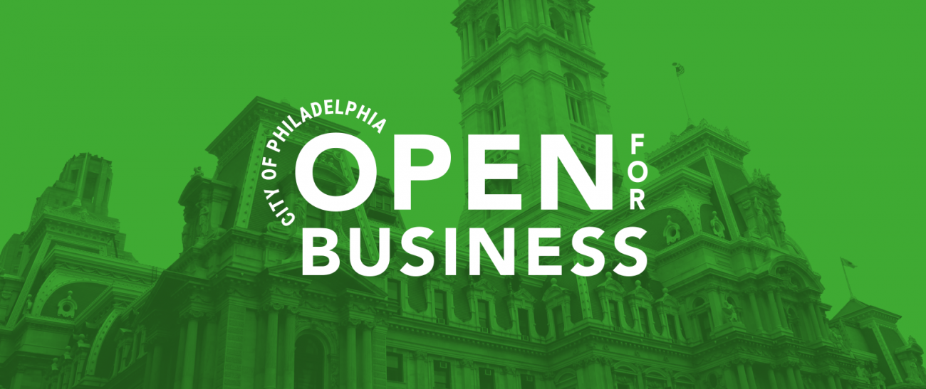 Banner showing Office of Innovation and Technology logo overlaid on a green-tinted image of Philadelphia