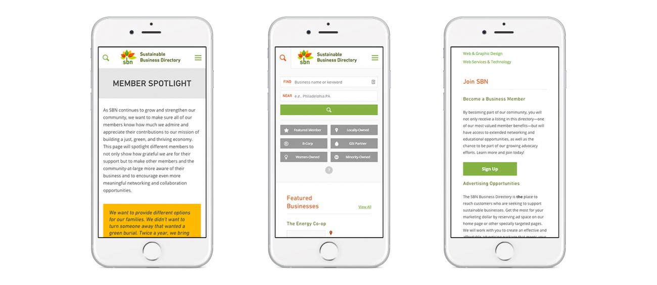 Mobile versions of the SBN member directory