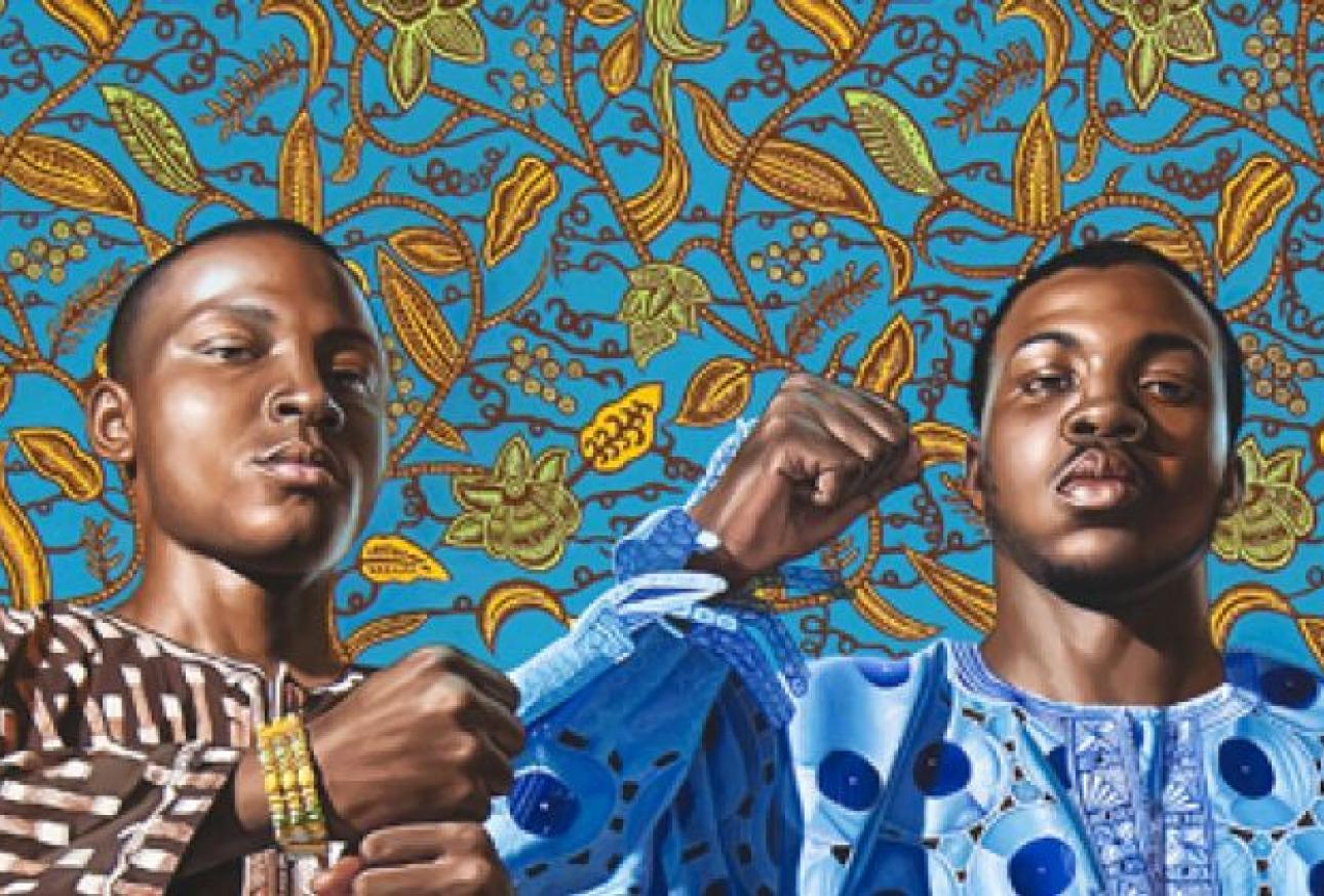 Painting by a PAFA artist with floral background and three African-American youth with raised fists