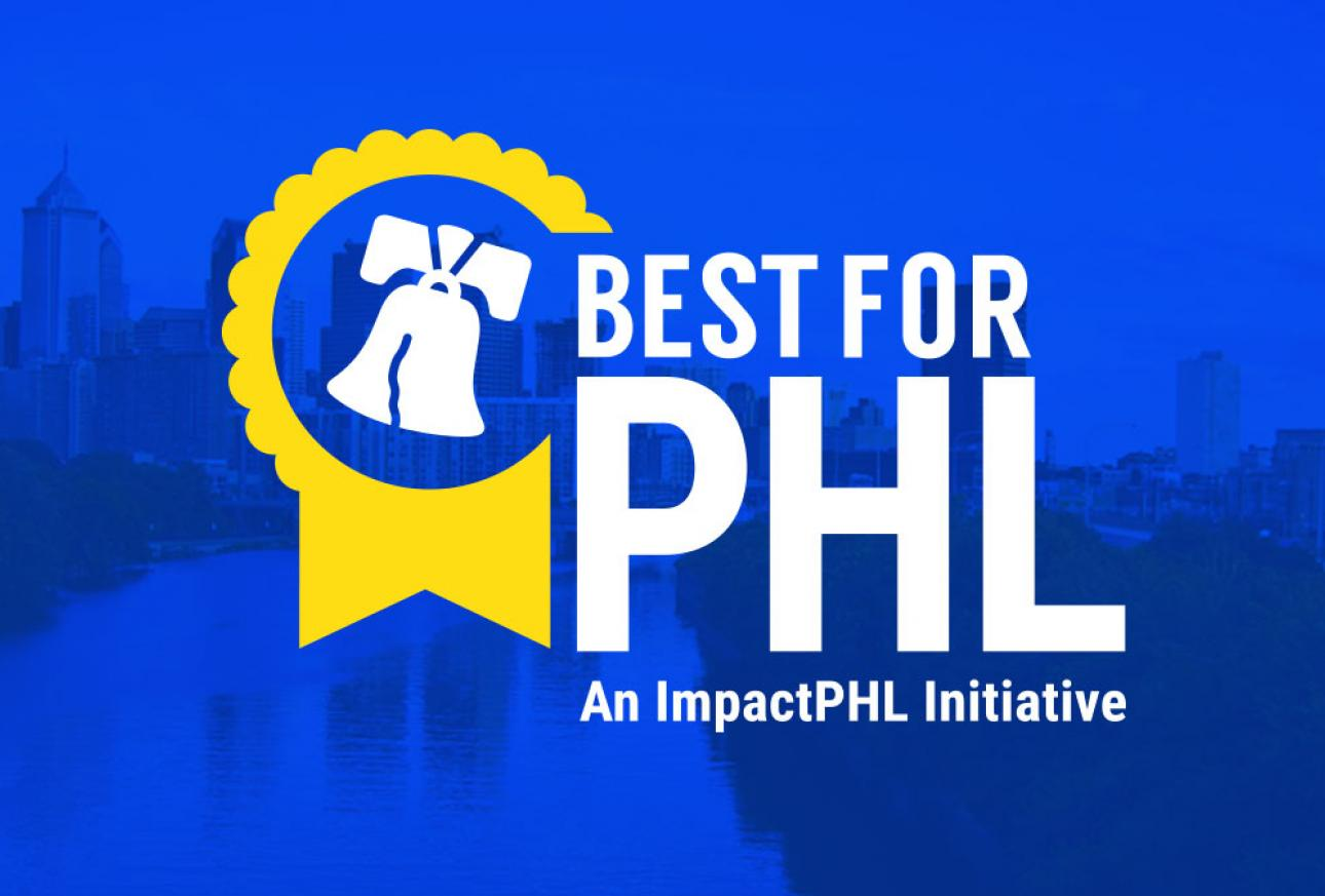Banner showing Best for PHL logo overlaid on a blue-tinted image of Philadelphia